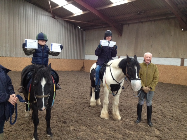 Peter and Jack who ride in our Wednesday session were both awarded their Proficiency Test Grade 1 certificates today for Riding and Horse Care.  They had to identify parts of their ponies and tack and demonstrate good riding skills in walk.  Well done both of you.