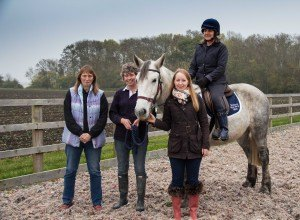 Volunteer Jill on Alfie with Sue & Verena (Admington Fun Ride) & Katy from Zurich